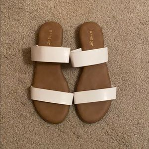 Double Strap Slide On White Sandals
